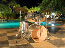 Musical drums on outdoor music stage. Musical instruments on outdoor music stage royalty free stock photos