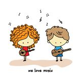 Musical duet, boy and girl playing stock illustration