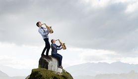 Musical duet. Concept image Royalty Free Stock Photos