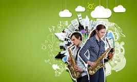 Musical duet. Concept image Stock Image