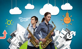 Musical duet. Concept image Stock Images