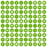 100 musical education icons hexagon green Royalty Free Stock Photos