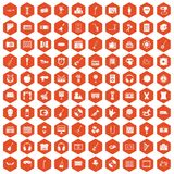 100 musical education icons hexagon orange Stock Image