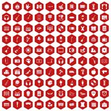 100 musical education icons hexagon red Stock Photography