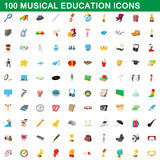 100 musical education icons set, cartoon style. 100 musical education icons set in cartoon style for any design vector illustration Stock Photo