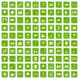 100 musical education icons set grunge green Royalty Free Stock Photography