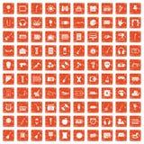 100 musical education icons set grunge orange. 100 musical education icons set in grunge style orange color isolated on white background vector illustration vector illustration