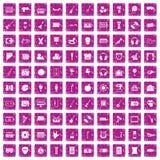 100 musical education icons set grunge pink. 100 musical education icons set in grunge style pink color isolated on white background vector illustration royalty free illustration