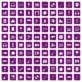 100 musical education icons set grunge purple. 100 musical education icons set in grunge style purple color isolated on white background vector illustration Stock Photos