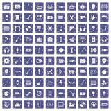 100 musical education icons set grunge sapphire. 100 musical education icons set in grunge style sapphire color isolated on white background vector illustration Stock Photo