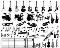 Musical elements. Big collection of musical elements for design use Royalty Free Stock Photography
