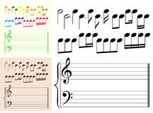 Musical elements with color variations Stock Photos