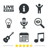 Musical elements icon. Microphone and guitar. Royalty Free Stock Image