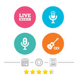Musical elements icon. Microphone, Live music. Royalty Free Stock Photo