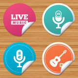 Musical elements icon. Microphone, Live music. Royalty Free Stock Images