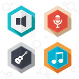 Musical elements icon. Microphone, Sound speaker Royalty Free Stock Photography