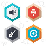 Musical elements icon. Microphone, Sound speaker Royalty Free Stock Image