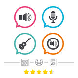 Musical elements icon. Microphone, Sound speaker. Stock Images
