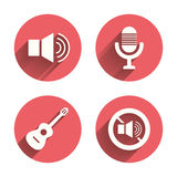 Musical elements icon. Microphone, Sound speaker Stock Photo