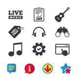 Musical elements icon. Music note and guitar. Musical elements icons. Musical note key and Live music symbols. Headphones and acoustic guitar signs. Browser Stock Photography