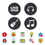 Musical elements icon. Music note and guitar. Musical elements icons. Musical note key and Live music symbols. Headphones and acoustic guitar signs. Calendar Royalty Free Stock Image