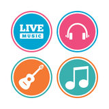 Musical elements icon. Music note and guitar. Musical elements icons. Musical note key and Live music symbols. Headphones and acoustic guitar signs. Colored Royalty Free Stock Images