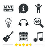 Musical elements icon. Music note and guitar. Stock Image