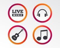 Musical elements icon. Music note and guitar. Musical elements icons. Musical note key and Live music symbols. Headphones and acoustic guitar signs. Infographic Stock Photo