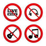 Musical elements icon. Music note and guitar. No, Ban or Stop signs. Musical elements icons. Musical note key and Live music symbols. Headphones and acoustic Stock Photo