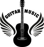 Musical emblem with wings, fire and caption Guitar music.  Royalty Free Stock Image