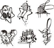 Musical emblems and symbols Stock Photos