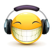 Musical emoticon. Vector illustration of cool glossy single musical emoticon with detailed headphones Stock Image