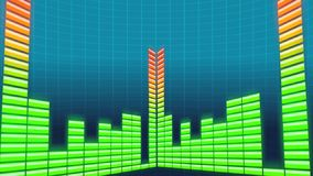 Musical equalizer. Green yellow bars, loop stock video footage