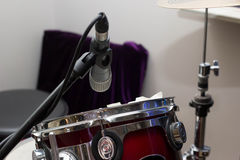 Musical equipment drums. And microphone no people Royalty Free Stock Image