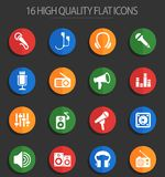 Musical equipment 16 flat icons. Musical equipment web icons for user interface design Stock Illustration