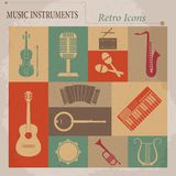Musical equipment. Retro vector icons Stock Image
