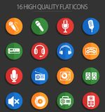 Musical equipment 16 flat icons. Musical equipment web icons for user interface design vector illustration