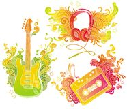 Musical equipments with doodle decor Stock Photography