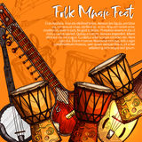 Musical festival of folk music sketch poster Stock Photos