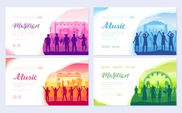 Musical festival on outdoor air park. The musical group performs song brochure card set. Lifestyle template of flyear. Web banner, ui header, enter site stock illustration
