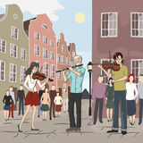 Musical flash mob at old city. Vector illustration Stock Image
