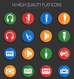 Musical 16 flat icons. Musical web icons for user interface design vector illustration