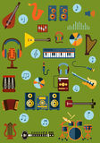 Musical flat instrument and device icons Stock Photo