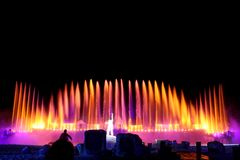 Musical fountain. Songs of the sea attraction in Sentosa Singapore Stock Images