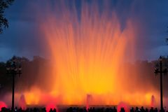 Musical fountain in Barcelona royalty free stock image
