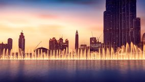 Musical fountain of Dubai stock photo