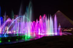 Musical Fountain Eilat. Musical Fountain in Eilat at night with light show, Israel royalty free stock photos