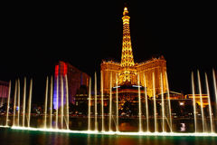 Musical fountain in las vegas night Royalty Free Stock Images