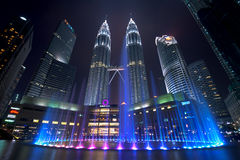 Musical Fountain. Long Exposure of KLCC with Musical Fountain Royalty Free Stock Photo