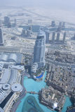 Dubai, a musical fountain view from the observation deck Burj Kalifa Stock Photo